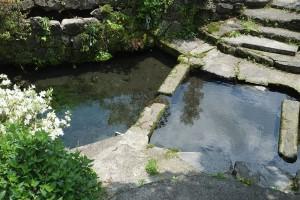 地震で崩れた石垣[川地後水源]