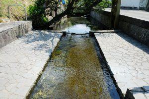 広く平らな汲み場[湧沢津水源・南阿蘇村]