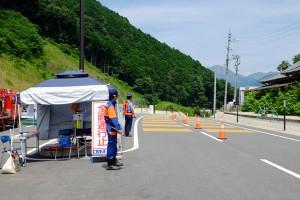 警察消防常駐の交通規制【国道57号線・立野地区】