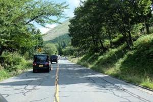 地震復旧した16日の阿蘇登山道路