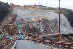 長陽大橋復旧工事[栃の木側・2017年1月30日]
