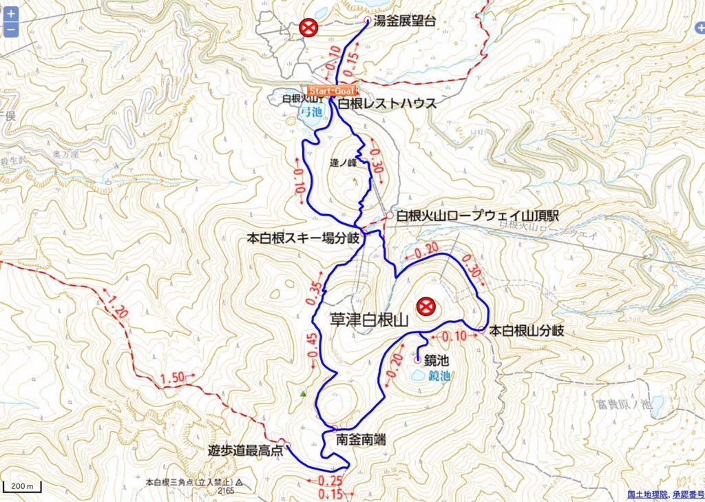 ルートマップ[草津白根山 登山情報地図]